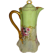 Haviland - Limoges - France -  Chocolate - Coco - Pot - Hand Painted - Victorian Style Bouquet - Romantic Sweetheart Roses - Circa 1931 - Museum Quality - Only Fine Lines