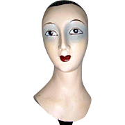 Vintage - Ladies - Hand Carved - Wood - Hat Stand Display - Sculptured - Mannequin Bust - Only Fine Lines