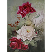 Antique - T&V - Limoges - France - Plaque - Porcelain Tile - Hand Painted - Stunning Bouquet -