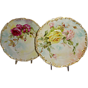 A Pair of T&V Limoges France Plates - Hand Painted Tea Roses - Artist Signed - Museum Quality
