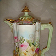 Beautiful - Bawo & Dotter (Elite Works) - Limoges - France - Chocolate Pot - Hand Painted Rose