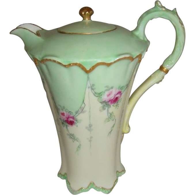 Haviland - Limoges - France - Chocolate - Coco - Pot - Hand Painted - Romantic Bouquets - Victorian Style - Pink Tea Roses - Only Fine Lines