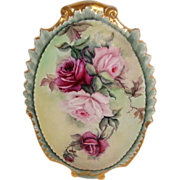 Stunning - Coiffe - Limoges - France - Plaque - Hand Painted - Pink Tea Roses - Scalloped Bord