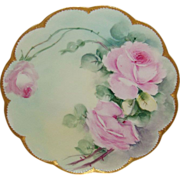 Lovely - Haviland - Limoges - France - Plate - Hand Painted - Pink Roses - Gold Beaded Border - Pristine - Only Fine Lines