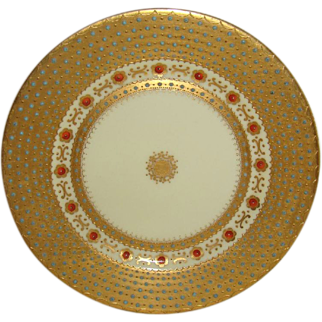 Stunning - Royal Vienna - Beehive - Plate - Art Deco Style - Floral Design - Raised Enamel Jewels - Circa 1864 - Only Fine Lines