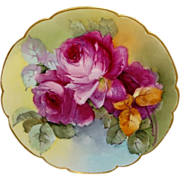 Haviland - Limoges - France - Plate - Hand Painted - Romantic Bouquet - Scarlet Roses - Famous Artist Signed - IDA FERRIS - One-of-a-Kind - Rare Treasured Heirloom - Museum Quality - Only Fine Lines