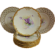 Stunning - JPL - Limoges - France - Ice Cream - Dessert Plate Set - Romantic - Victorian Posies - African Violets - Jewels - Elaborate Coin Cold Borders - Reticulated Lattice Borders - Museum Quality - Only Fine Lines