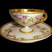 Exquisite - Antique - Elite Works - Limoges - France - Pedestal Cup - Saucer - Hand Painted Pi