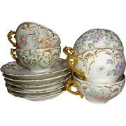 Four - T&V - Antique - Limoges - France - Tea - Coffee - Chocolate - Coco - Cups - Saucers - H