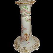 T&V Limoges - France - Porcelain - Chamber Stick - Candlestick - Hand Painted - Cherubs - Putt