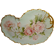 Antique - Guerin - Limoges - France - Tray - Hand Painted - Sweetheart Roses Bouquet - Coin Go