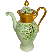 GDA Limoges France Demitasse - Teapot - Coco Pot - Hand Painted - Lucky Irish Shamrocks - Only