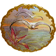 Magnificent - Limoges - France - Sea Life - Sea Gulls - Fish - Scenic - Plaque - Charger - Coin Gold Rococo Border - Professionally Hand Painted on Fine European Porcelain - Signed -French Master Artist - Mulville - Circa 1920s -  Only Fine Lines