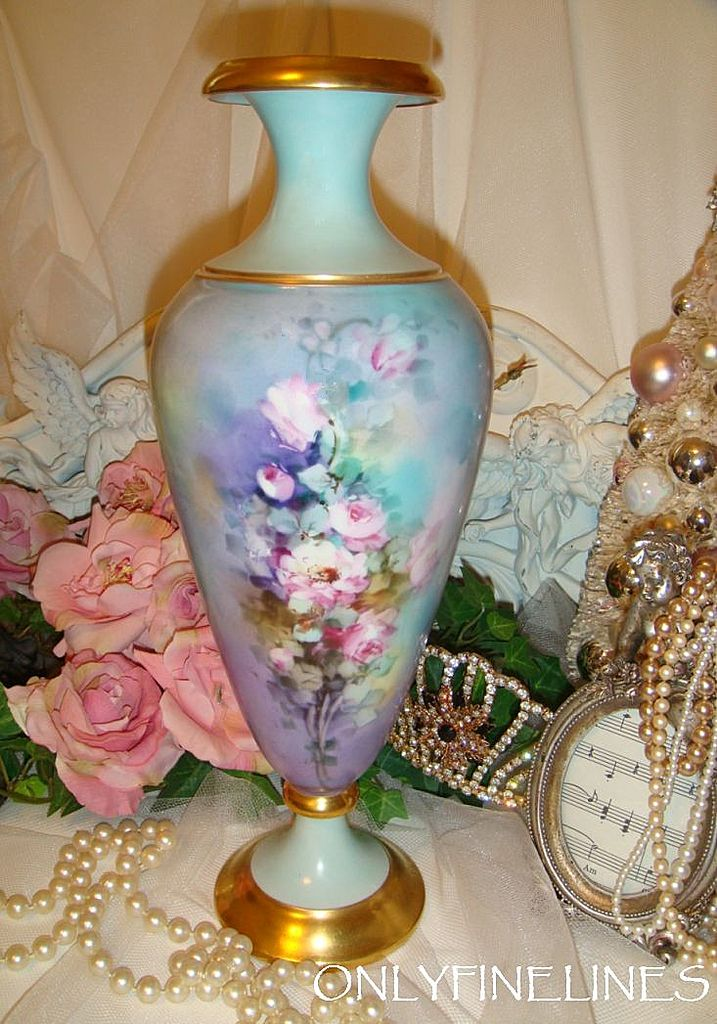 Fabulous Limoges France Vase Hand Painted Pink