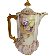 Austria - Austrian - Chocolate - Coco - Pot - Hand Painted - Victorian Style Bouquet - Purple