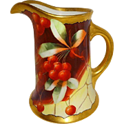 Guerin - Limoges - Pickard - Large Pitcher - Hand Painted - Ruby Red Cherries - Artist Signed