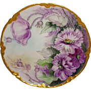 Beautiful - Hand Painted - Haviland - Limoges - France - Plate - Purple Poppies - Artist Signed - One-of-a-Kind - Pristine Condition - Only Fine Lines
