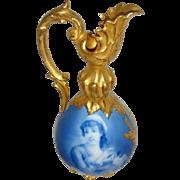 RARE - D&C - Limoges - France - Flow Blue - Portrait - Urn - Pitcher - Vase  - Magnificent Gilded Handle - Circa 1900 - Only Fine Lines