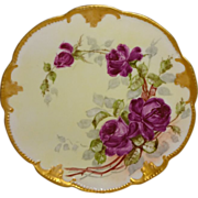 French Victorian Bouquet - Gorgeous Crimson Tea Roses - Hand Painted - Limoges - France - Antique - Porcelain - Plate - Gilded Scalloped  and Beaded Border - Artist Signed - One-of-a-Kind - Only Fine Lines