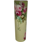 Lovely - MZ - Austria - Austrian - Vase - Hand Painted - Trailing Pink Tea Roses - Coin Gold Accents - Turn-of-the-Century - Pristine Condition - Only Fine Lines