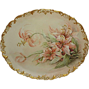 MAGNIFICENT - T&V - Limoges - France - Large - Tray - Platter - Hand Painted - Romantic Victorian Bouquet - Spotted Day Lilies - Artist Signed - Circa 1907 - Only Fine Lines
