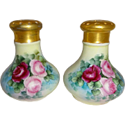 MZ Austria -  Austrian - Salt - Pepper - Shakers - Hand Painted - Roses - Lush Greenery - Artist Signed - Only Fine Lines