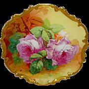 Beautiful - Coronet - Limoges - France - Porcelain Plaque - Wall Art - Pink Roses - Artist Sig