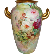 Rosenthal - Bavaria - Bavarian - Vase - Hand Painted  - Roses - Gilded Handles - Artist Signed - Turn-of-the-Century - Only Fine Lines