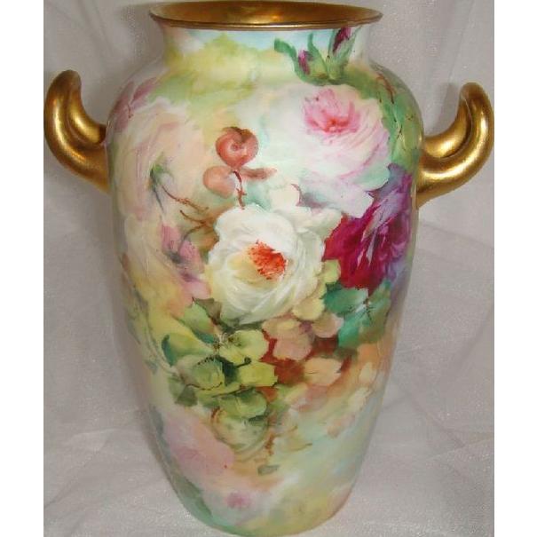 Rosenthal - Bavaria - Bavarian - Vase - Hand Painted  - Roses - Gilded Handles - Artist Signed - Turn-of-the-Century - Only Fine Lines