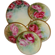 5 Hand Painted Buttons - Studs - Pink Roses - Artist Signed - Dated '03