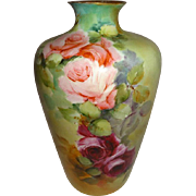 Rosenthal - German - Germany - Vase - Hand Painted - Pink Tea Roses - Gold Accents - Circa 190