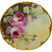 BEAUTIFUL - Haviland - Limoges - France - Porcelain Plate - Hand Painted - Large Pink Sweethea