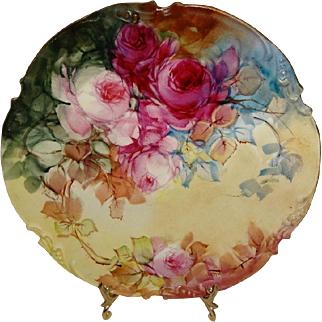 JPL - LImoges - France - Hand Painted - Antique Porcelain - Plate - Romantic Victorian Bouquet - Ruby Red Roses - Roman Gold - Scalloped Border - Stunning - Work-of-Art - French Heirloom - Circa 1906 - Only Fine Lines