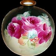 GORGEOUS - Philip Rosenthal- German - Germany - Bulbous Vase - Hand Painted - Romantic Bouquet - Crimson Roses - Circa 1906 - Excellent Condition - Only Fine Lines