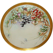 "Fabulous - T&V - Limoges - France - 18"" TRAY - Hand Painted - Grapes - Artist Signed - Da"