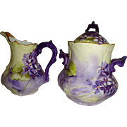 Limoges - France - Antique - Sugar - Creamer - French Duo - Hand Painted - Deep Purple African Violets - Circa 1900 - Museum Quality - Only Fine Lines