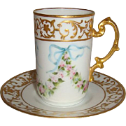 Charming - JPL - Limoges- France - Cup & Saucer - Hand Painted - Romantic Roses - Powder Blue
