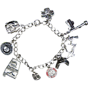 Caco Sterling Charm Bracelet With Nurses Hat Charm & 9 More