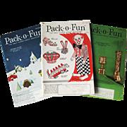 1960s Pack O Fun Vintage Childrens Magazine Trio / Scrapbook / Vintage Magazine / Kids Crafts