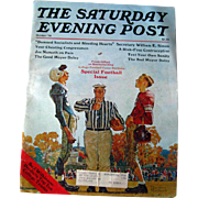 Saturday Evening Post Vintage Magazine October 1976 Norman Rockwell Cover / Football / Joe Nameth / Vintage Advertising