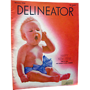 Delineator Vintage Fashion Magazine January 1933 with Baby Cover / Edith Wharton Fiction / Vin