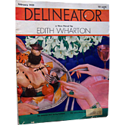 Delineator Vintage Fashion Magazine February 1932 / Edith Wharton Fiction / Vintage Advertisin