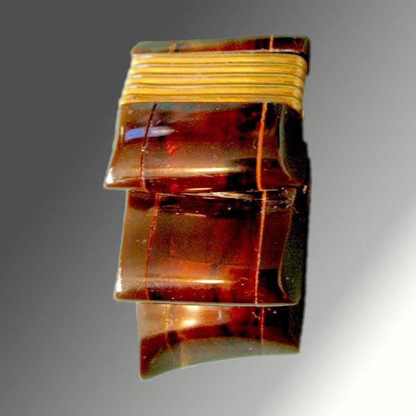 Lucite Ribbon & Brass Dress Clip - ART DECO