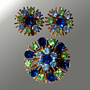 Atomic Rhinestone Pin & Earring Set