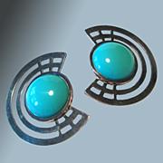 1980s Chunky Earrings Turquoise Glass Bead Silver Tone Settings