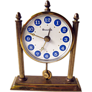 SOLD Bulova Blue Enameled Desk Alarm Clock / Working Condition Clock / Vintage Home Decor / Ta