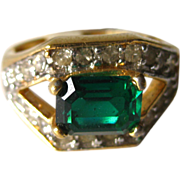 Square Cut Green Vintage Cocktail Ring Size 6 / Rhinestone Ring