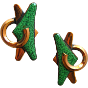 Copper and Enamel Vintage Earrings / Atomic Jewelry / MOD Jewerly / Vintage Jewelry