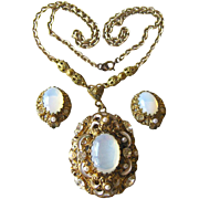 Filigree Earring and Necklace Set Marked West German / Vintage Fashion Jewelry / Fashion Jewer
