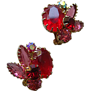 Red Juliana D and E Tiffany Prong Set Clip On Earrings / Vintage Earrings / Costume Jewelry /